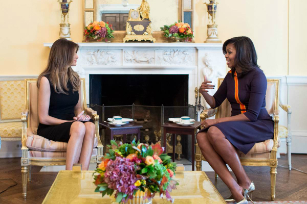 michelle obama meets with melania trump at white house