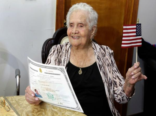99 year old woman named america happy to become a us citizen