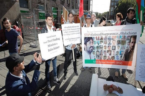 baloch citizens called  pak army as terrorist   protest in germany