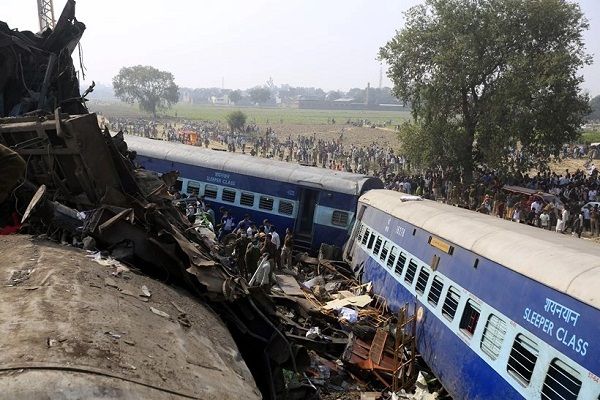 indore patna express derails  old mothers stick saves family of seven