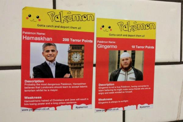 racist pakemon stickers in uk urge deporting obama london mayor sadiq khan