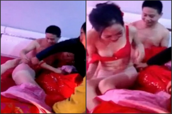 groom    s friend undress newlywed at first night