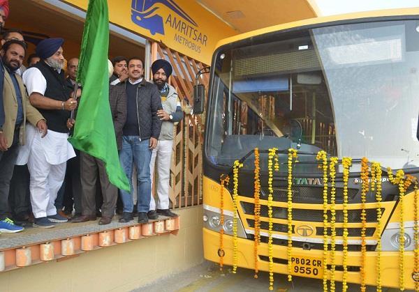 sukhbir badal launches 1st phase of amritsar bus rapid transit