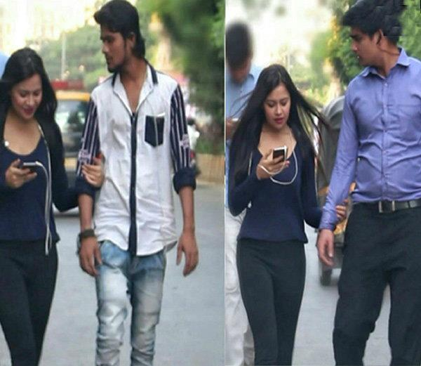 prank  girl suddenly catches the hand of boy on road