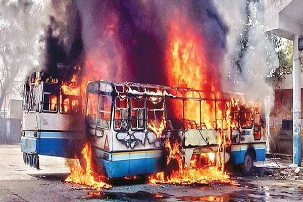 haryana jat reservation movement  truck bus fire