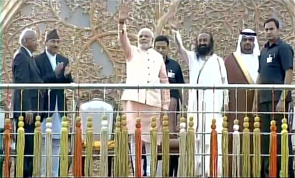 pm narendra modi at the venue of world culture festival