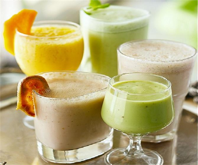 to avoid the heat by making fruit lassi drink