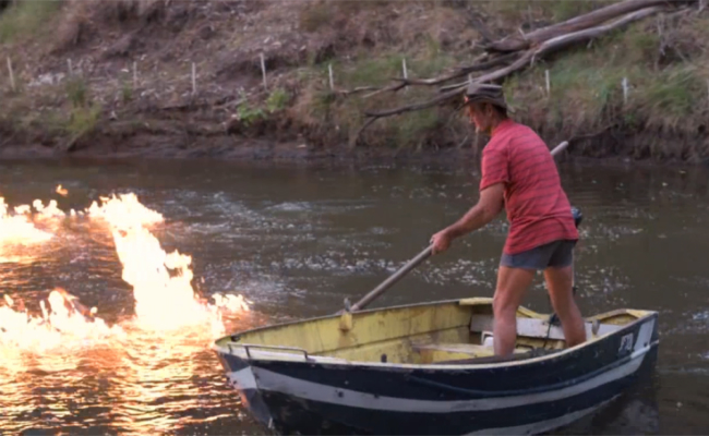 a river on fire methane gas explodes from australian river near fracking site