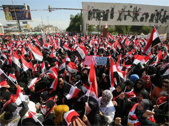 thousands of protesters in baghdad green zone entered