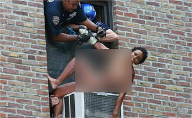 police rescue suicidal naked woman dangling perilously ac unit