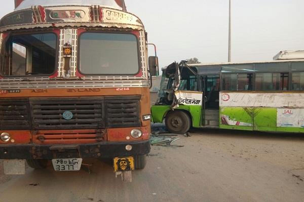 bus and tipper  s tremendous collision