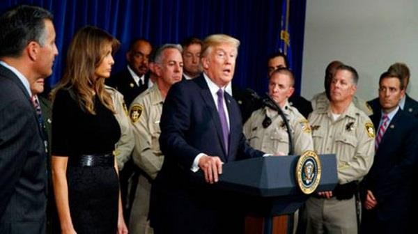 trump avoids gun control talk in las vegas visit