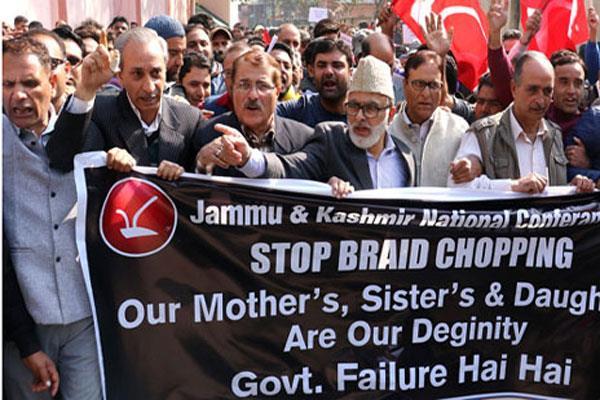 nc s protest against braid chop in kashmir
