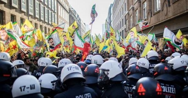 german police clash with kurdish protesters