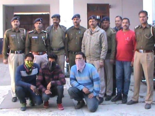 police arrested four youths including 285 kg charas