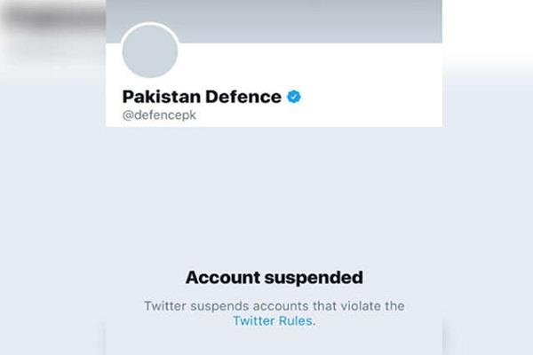 twitter accounts for pakistan  s defense minute suspension