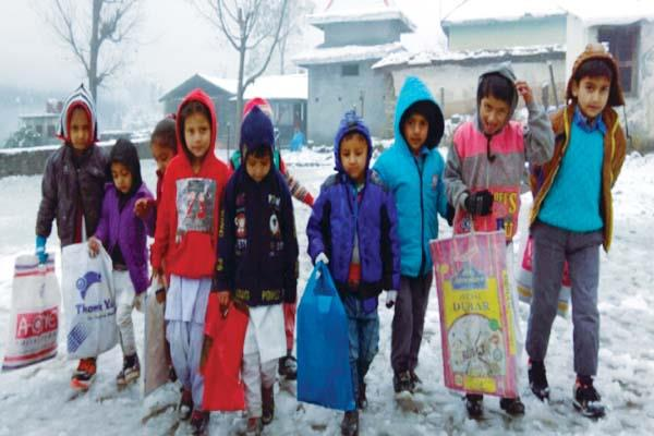 this incident happened with children during going to exam in snow