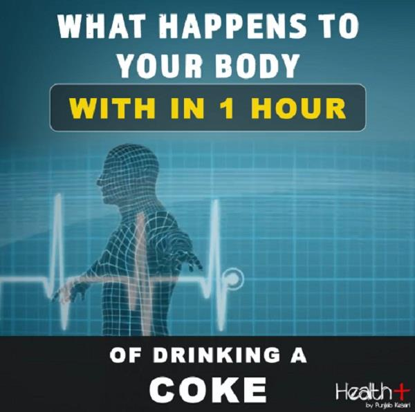what happens to your body with in 1 hour of drinking a coke