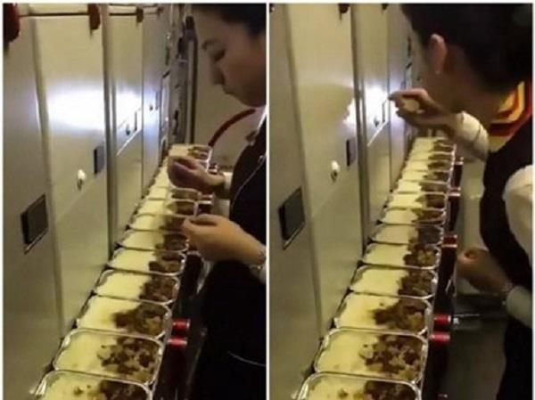 air hostess tasting in flight meals  video viral