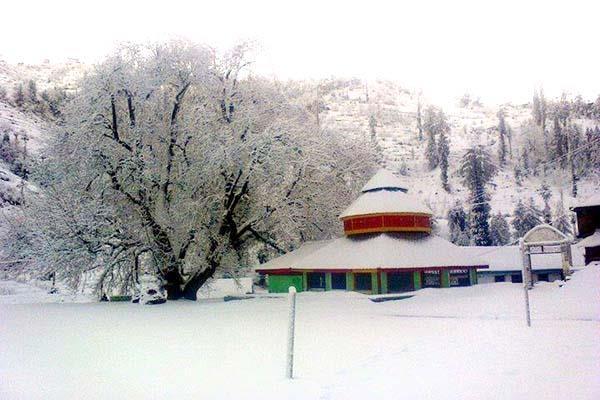 heavy snowfall on higher peaks of mandi  contact chopped of 50 panchayats
