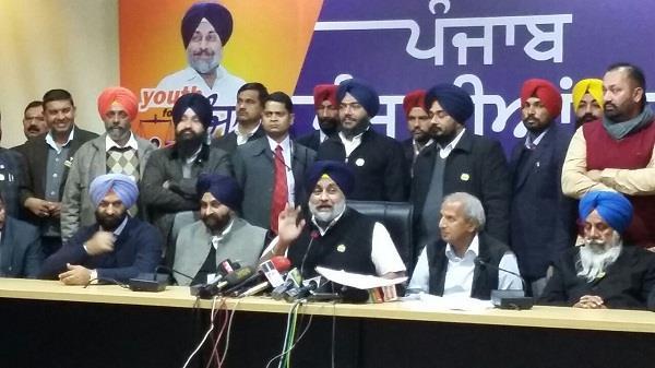 sukhbir badal questions congress  manpreet s  double standards