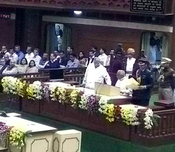 when suddenly start national anthem in governor  s address
