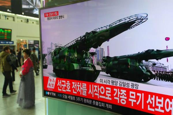 north korea displays intercontinental ballistic missiles at parade