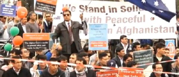 protest against afgan president ghani in canberra