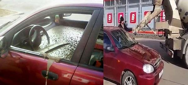 man gets mad at cheating wife fills her car with c