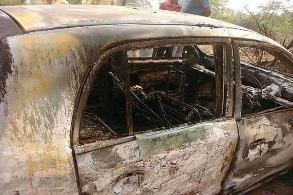 burnt car found in fatehabad