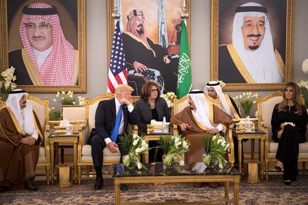 president trump arrives in saudi arabia