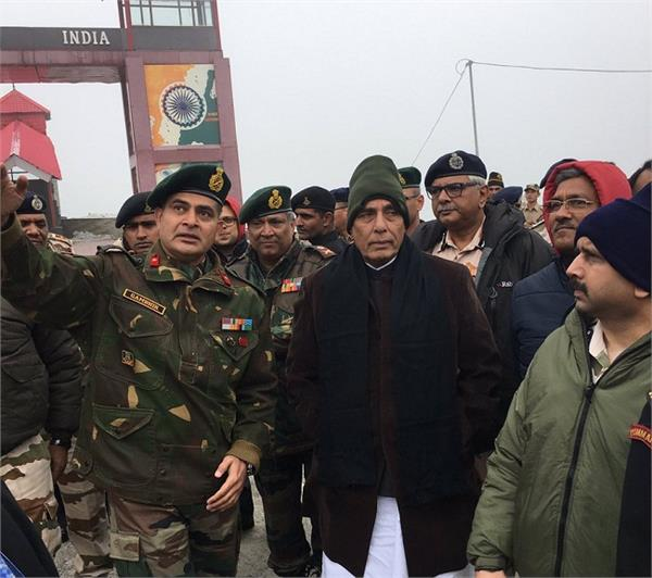 rajnath singh visited the indo tibetan border post at nathu la