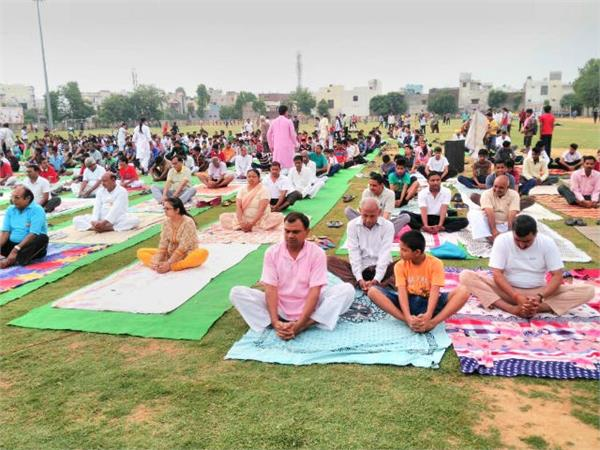 yoga day before people in moradabad did yoga