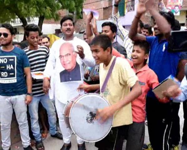 celebration of ramnath kovind as presidential candidate in kanpur