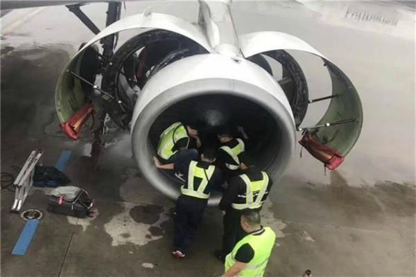 elderly woman throws coins in plane engine to pray for safe flight