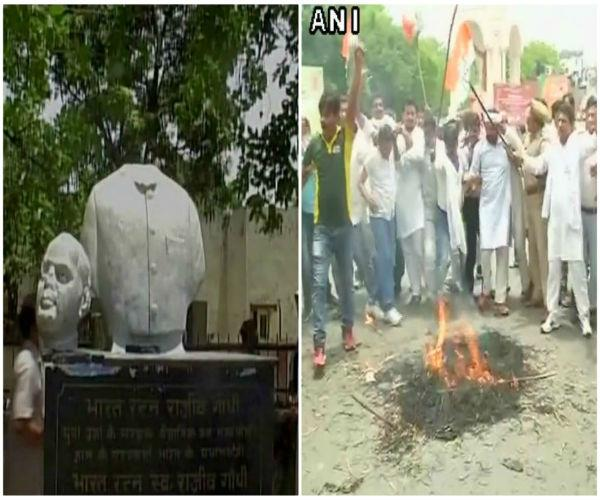 vandalism with rajiv gandhi statue  congress fiercely protested