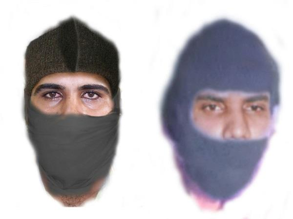 sketch of 2 criminals involved in the atm robbery