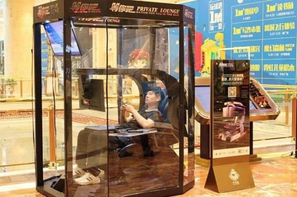 a mall in china installed   husband storage pods