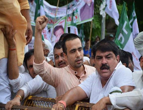 rld supporters protest against yogi sarkar clash with police