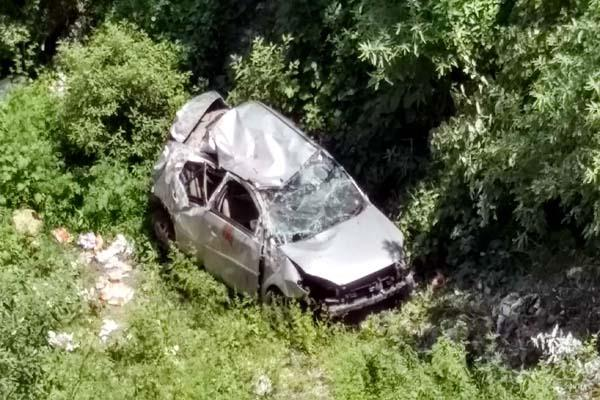 painful incident  car fall into 200 feet ditch after flying in air  death of one