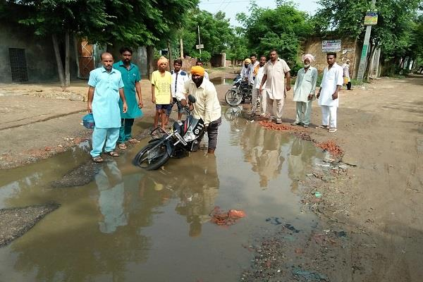 dirty water accumulated on a broken road