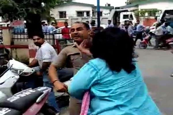 female adj slapped policeman