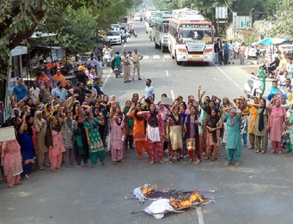 anganbadi worker protest