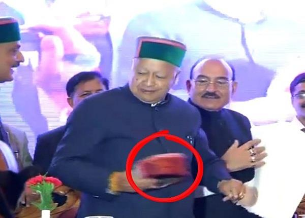 when virbhadra has on the table threw red hat