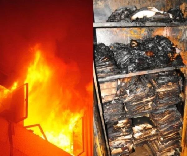 burning a fire at krishi bhawan