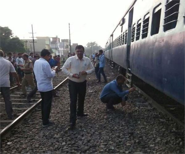 two blankets of an empty train derailed in agra
