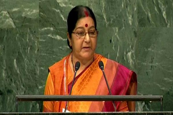 sushma swaraj s speech begins in un