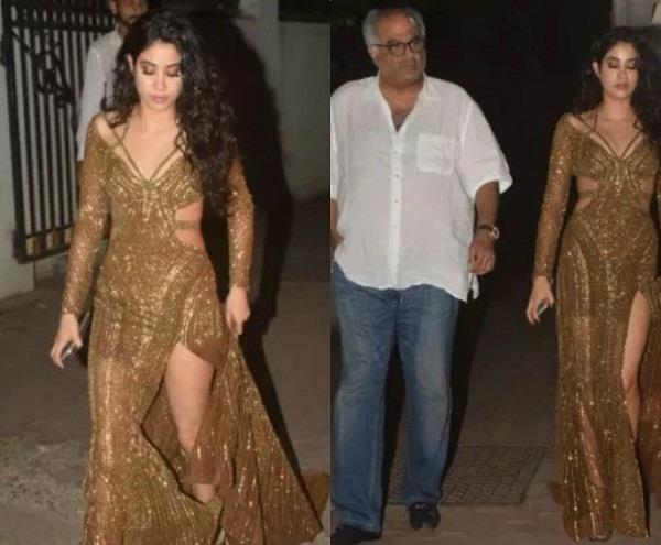 janhvi spotted at arjun house with father boney kapoor
