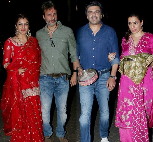 raveena and neelam at anil kapoor residence for karwa chauth celebration