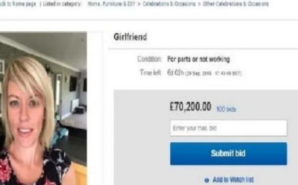 man puts girlfriend for sale on ebay